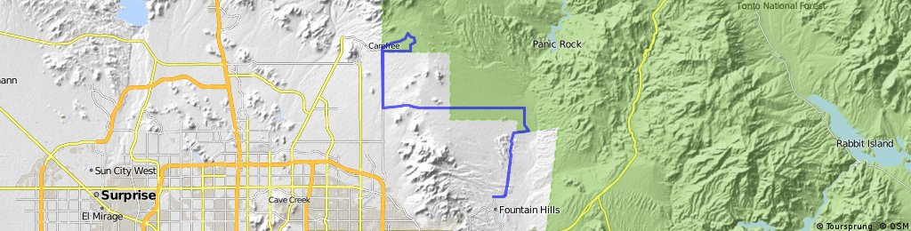 64ish miles with climbing! Fountain Hills