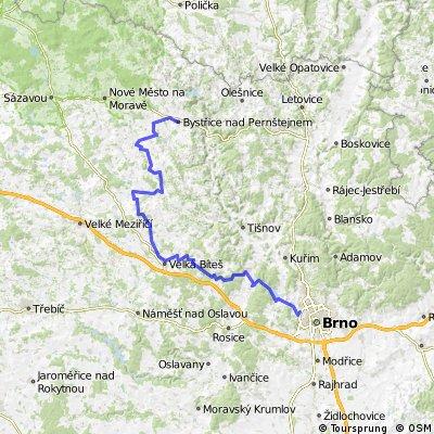 Bystřice nad Pernštejnem - Strážek - Velká Bíteš - Vevrská Bítýška - Brno