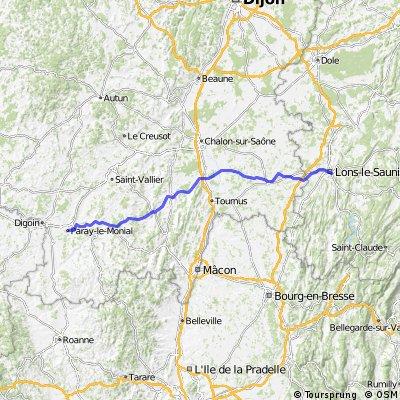 Lons le Saunier - - Paray-le Monial 138km,660Hm
