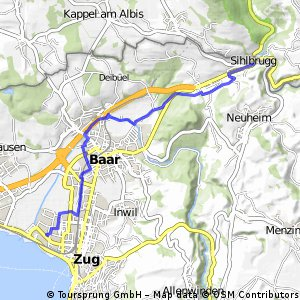 bike tour from Zug to Sihlbrugg Dorf