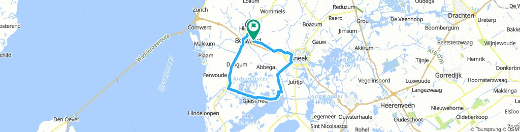 Bolsward - Sneek - Heeg - Gaastmeer - Pontje Nijhuizum - Workum - Bolsward