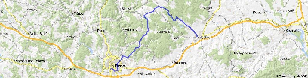 Vyškov - Kojál - Jedovnice - Ochoz - Brno