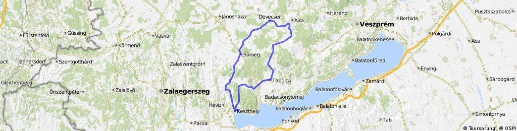 Keszthely-Sümeg-Devecser-Kolontár-Ajka-Tapolca-Várvölgy-Keszthely