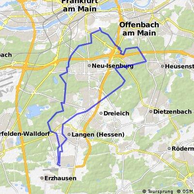 Waldradtour Egelsbach, Oberrad,Neu-Isenburg,Heusenstamm und zurück.