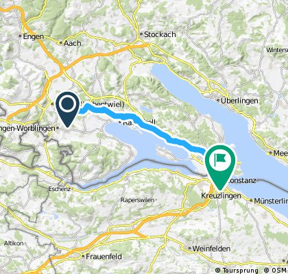 Long bike tour from Singen (Hohentwiel) to Konstanz