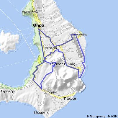 Fira - Emporio - Pirgos - Vothonas - Kamari