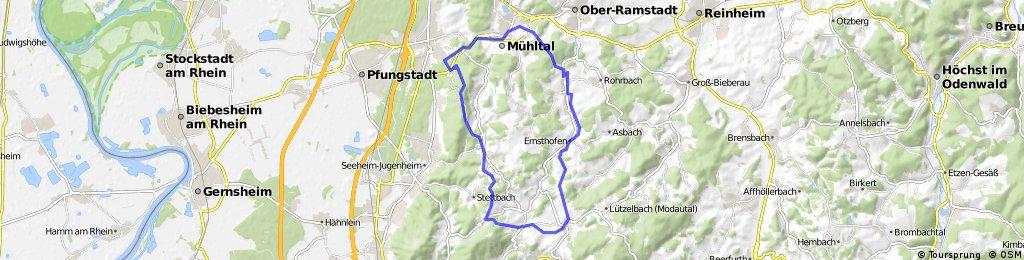 Von EberstadtFrankenstein - Steigerst - Kuralpe - Brandau - Modautal - Silberberg- - Nieder-Ramstadt - Eberstadt