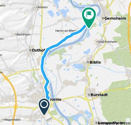 Radrunde von Worms nach Hamm am Rhein