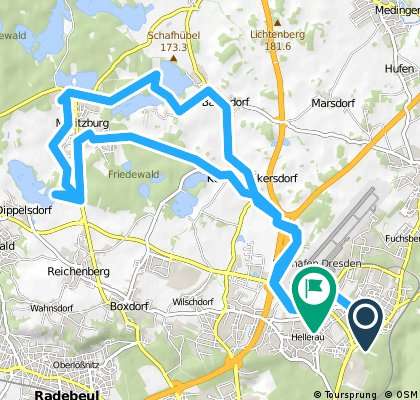 Klotzsche-Volkersdorf-Moritzburg-Cunnersdorf-Bärnsdorf-Klotzsche