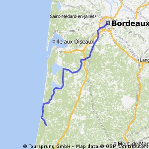 BORDEAUX -- LIT-ET-MIXE  141Km 210Hm