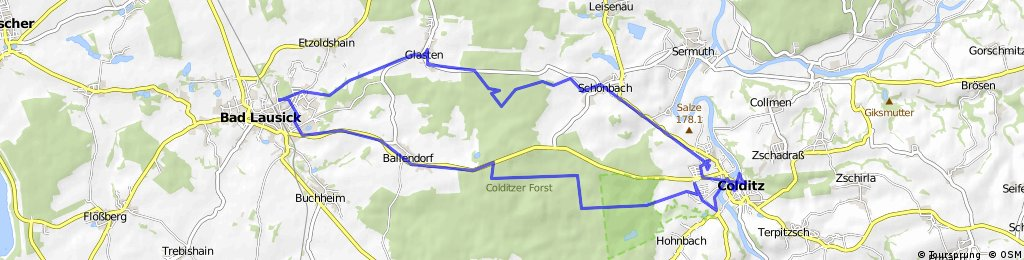 Bad Lausick to Schloss Colditz and back