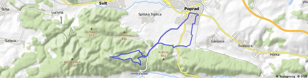 Poprad - Visova - Krizovy vrch (1102 mnm) - Poprad