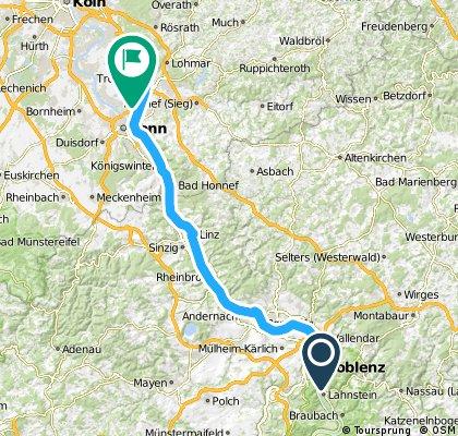 Lange Radrunde von Koblenz nach Troisdorf