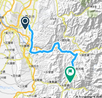 Lengthy ride from 南區 to 魚池鄉