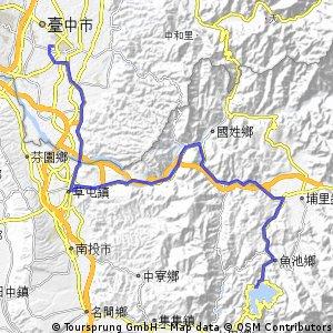 Long bike tour from 魚池鄉 to 台中市