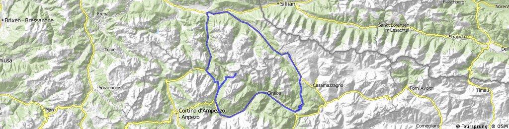 Toblach-Kreuzbergpass-Podola-Auronzo di Cadore-Misurina-Drei Zinnen-Schluderbach-Toblach