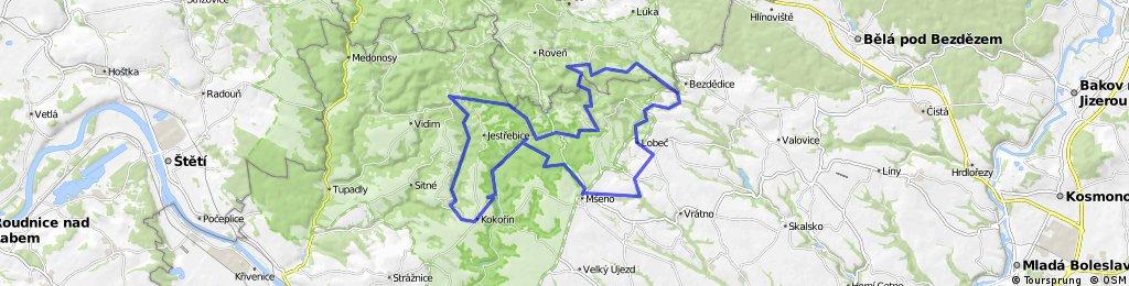 Mseno - Kokorin - Houska - Lobec - Mseno - 49 km