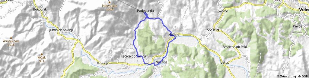Radegunda - Rečica ob Savinji - Nazarje - Mozirje - Radegunda