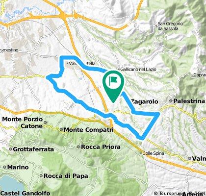 Zagorolo - Palestrina - Via dell' Olmata - Valvarino - San Cesareo - Colonna - Laghetto - Acqua Felice - Valle Martella - Via Prenestina - Zagarolo