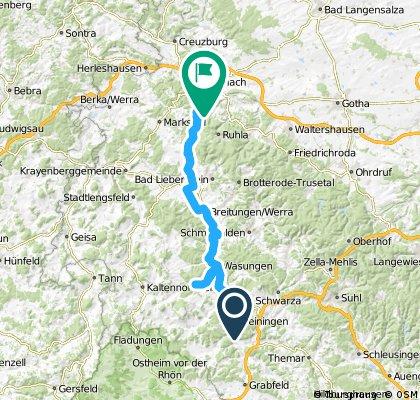Lange Radrunde von Meiningen nach Eisenach