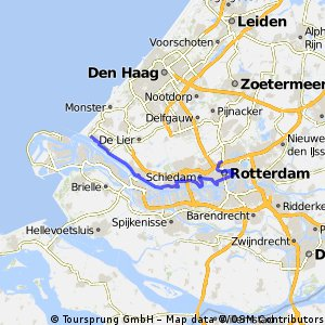 Lengthy ride from Hoek van Holland to Rotterdam