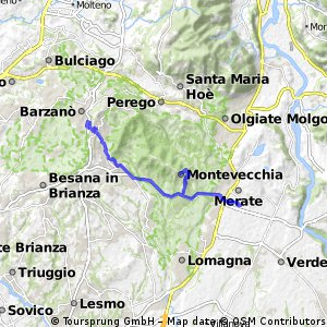 bike tour from Merate to Barzanò