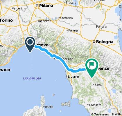 Genoa to Florence (Cinque Terre modification)