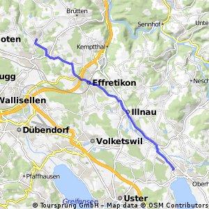 Radrunde von Pfäffikon (ZH) nach Chrüzstrass