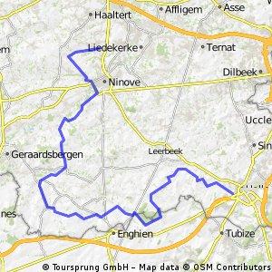 Halle - Denderhoutem via Bever/Viane/Zandbergen