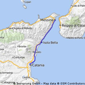 Cycling routes and bike maps in and around Messina Bikemap