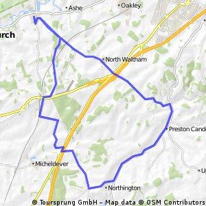 Overton - N Waltham - Axford - Candovers - Micheldever - return - 39 km
