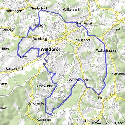 Waldbröl - Vierbuchermühle - Holpe - Hermesdorf - Puhl - Waldbröl