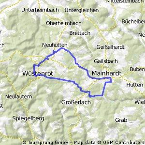 Kurzstrecke Rundweg Neuhütten - Mainhardt - Wüstenrot