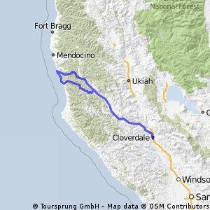 Cloverdale-Boonville-Navarro Ridge-Greenwood-Boonville-Cloverdale