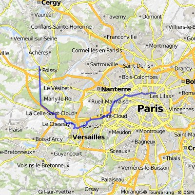 Lengthy bike tour from Paris to Poissy