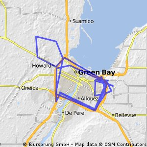 Cycling routes and bike maps in and around Green Bay Bikemap