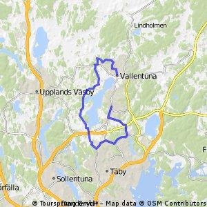 bike tour from Täby Kyrkby to Vallentuna