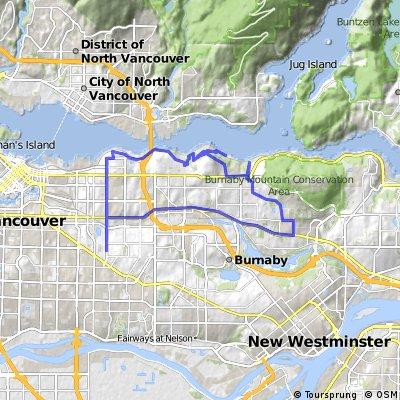 Long bike tour through Vancouver