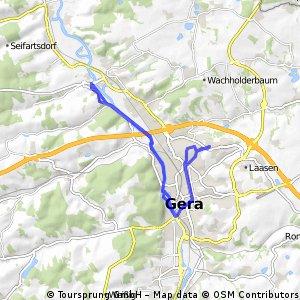Radrunde durch Gera Richtung Köstritz und zurück