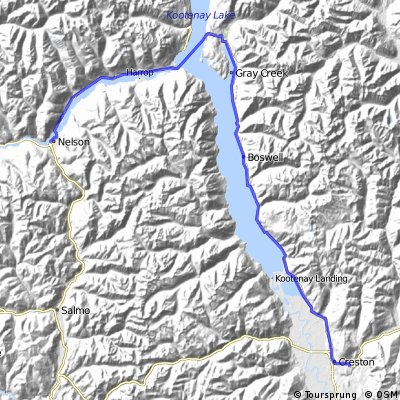 Across Canada Trails - Proposed Paved Route - Nelson. BC to Creston, BC