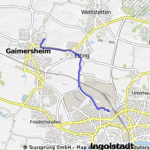 Kurze Radrunde von Gaimersheim nach Ingolstadt