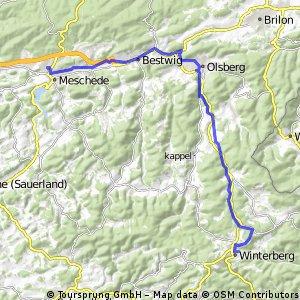 Ruhrtalradweg - 1. Etappe 10.06.2016 von Winterberg bis Meschede