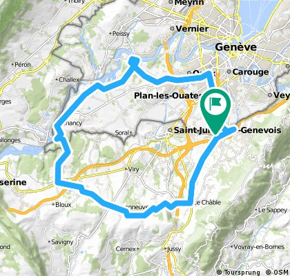 Long bike tour through Plan-les-Ouates