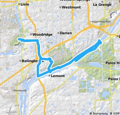 Long bike tour through Naperville