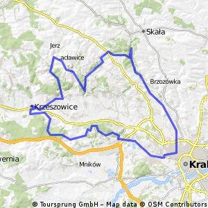 Kraków-Ojców-Będkowska-Skała-Kmity 84 km