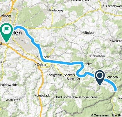 Lange Radrunde von Bad Schandau nach Dresden