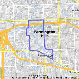 Cycling routes and bike maps in and around Farmington Hills