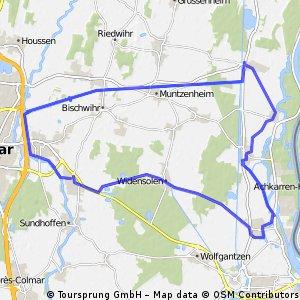 (Auto) Andolsheim - Canal du Colmar-Artzheim-Batzenheim-Kunheim-Biesheim-Widensolen
