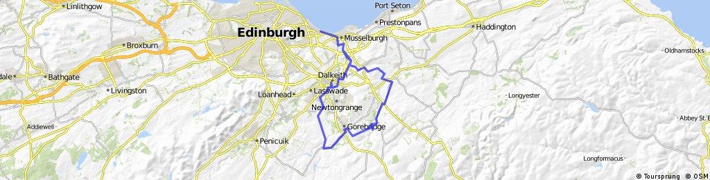 Joppa - Esk - Cousland - Pathhead - Crichton Castle - Gorebridge - Carrington - Newtongrange - Dalkeith - Whitecraig - Joppa