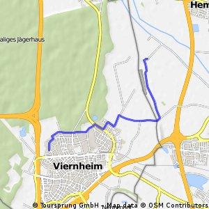 Kurze Radrunde von Weinheim nach Viernheim